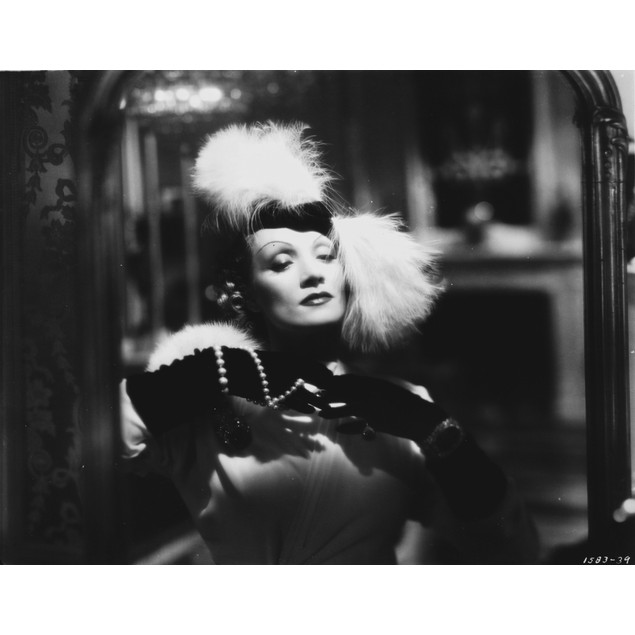 Marlene Dietrich Posed in Black Dress with White Fur Headdress Poster