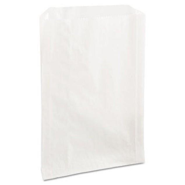 Grease-Resistant Sandwich Bags, 6 1/2 x 1 x 8, White, 2000/Carton