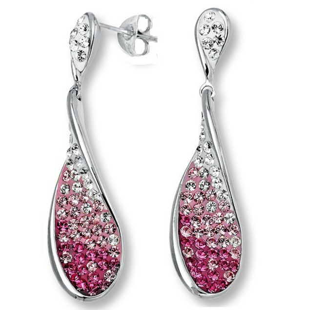 Sterling Silver Pink Ombre Dangle Earrings with Swarovski Crystals