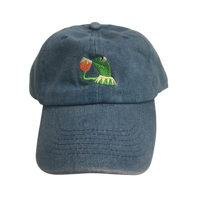 Kermit Sipping Tea But That's None Of My Business Blue Denim Hat