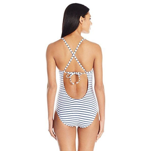 Splendid Women's Chambray All Day Soft Cup One Piece Swimsuit, Blue, SZ L