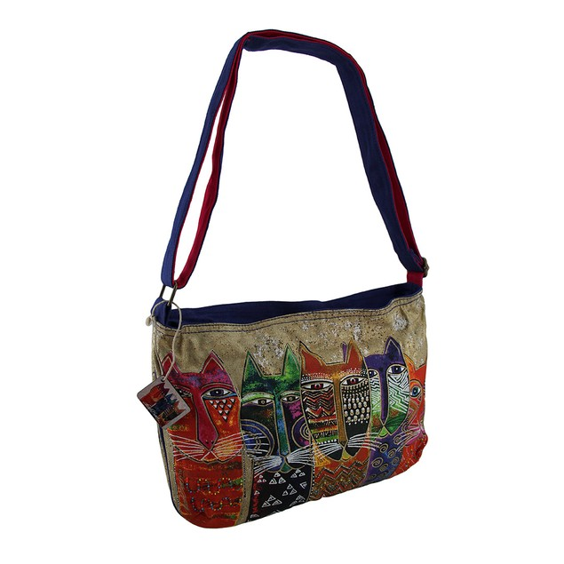 Laurel Burch Long Neck Cats Medium Cross Body Bag Womens Cross Body Bags