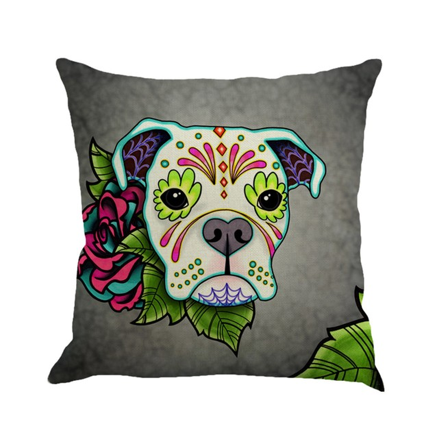 Greyhound Painting Linen Cushion Cover Throw Pillow Case Sofa Home Decor B