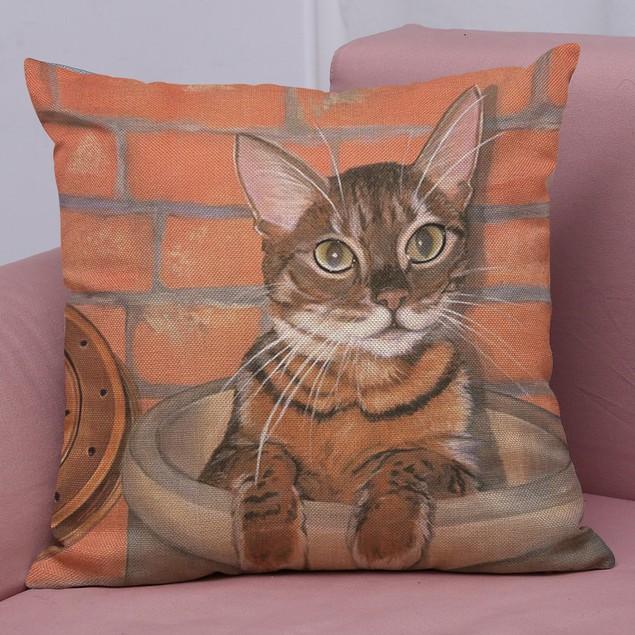 Cute Cat Sofa Bed Home Decoration Festival Pillow Case Cushion Cover C
