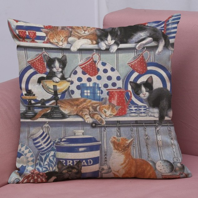 Cute Cat Sofa Bed Home Decoration Festival Pillow Case Cushion Cover D
