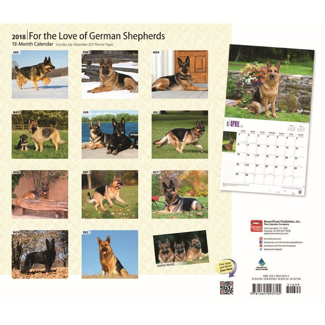 For the Love of German Shepherds Wall Calendar