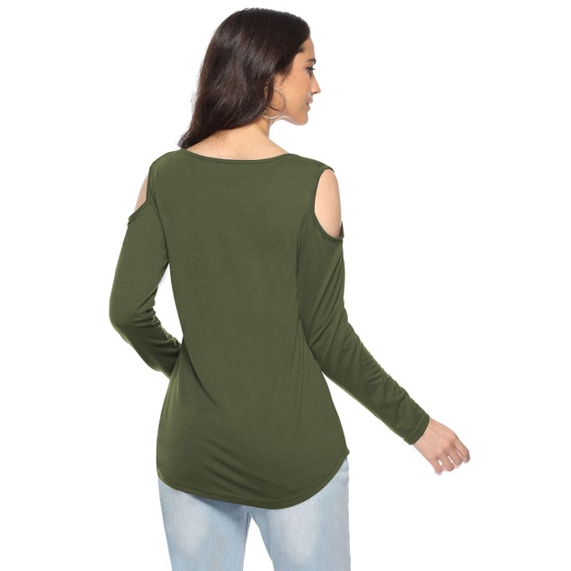 Long Sleeve Cold Shoulder Front Criss Cross Top