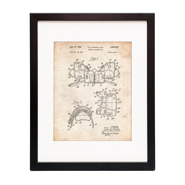Vintage Football Shoulder Pads Patent Poster