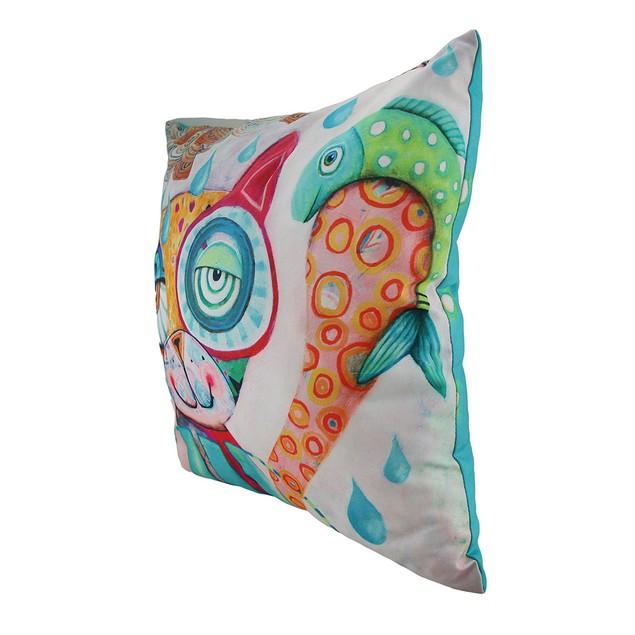 Allen Designs Peculiar Pals Colorful Cat Fish Throw Pillows