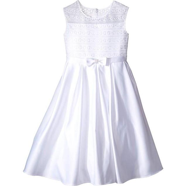 Us Angels Girl's Organza & Satin Sleeveless Dress w/Box Pleat SZ 8