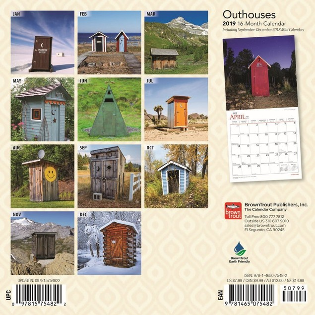 Outhouses Mini Wall Calendar, More Travel   Scenic by Calendars
