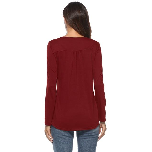 Long Sleeve Solid Henley Shirt
