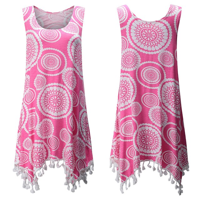 Women Casual Print Pullover Sleeveless Tassels Tank Crop Shirt Tops Blouse