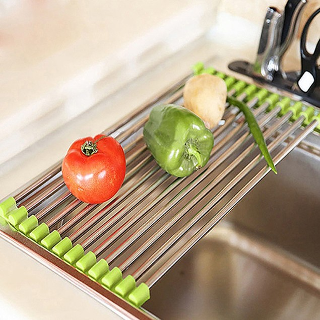 Foldable Stainless Steel Kitchen Sink Rack Dish Cutlery Drainer Holder