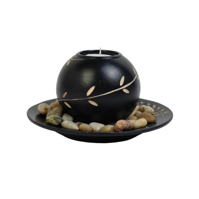 Decorative Round Candle Holder With Stones