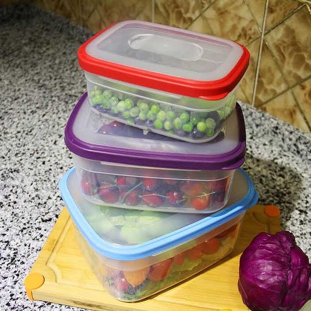 6-Piece BPA Free Food Storage Container Set with Color Coded Lids