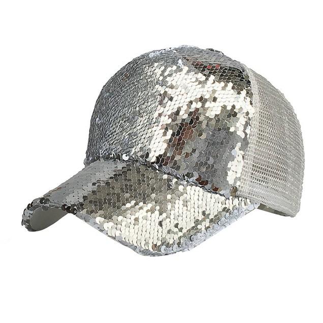 Women Ponytail Baseball Cap Sequins Shiny Messy Bun Snapback Hat Sun Caps y