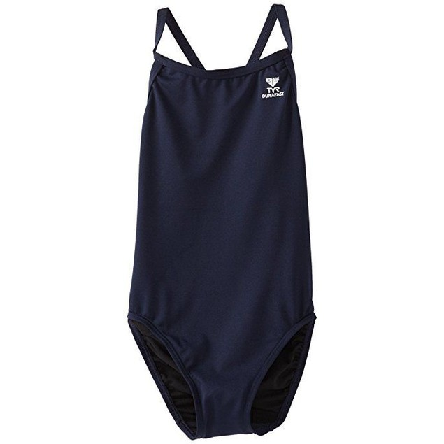 TYR Girl's Durafast Elite Solid Diamondfit Swimsuit (Navy, Size 34)