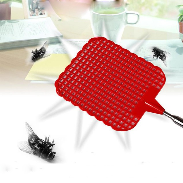 Plastic Telescopic Extendable Fly Swatter Prevent Pest Mosquito Tool