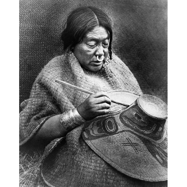 Woman Painting Hat, 1914. /Nthe Daughter Of A Nakoaktok Chief On The Coast
