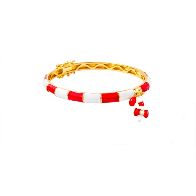 18K Gold Plated Kids Red & White Enamel Bangle With Dangling CZ Candy Cane