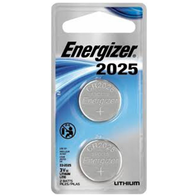 Energizer CR2025 Lithium Coin Cell Battery (2 Batteries)