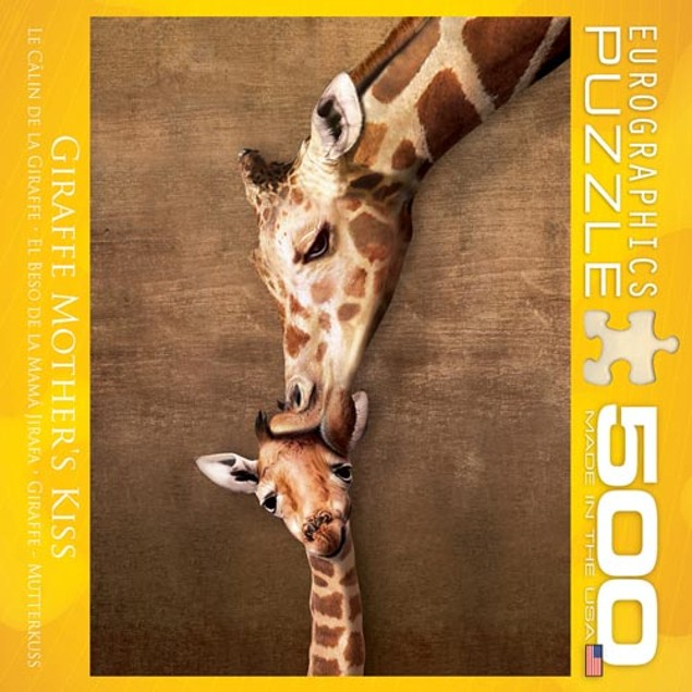 Giraffe Mothers Kiss 500 Piece Puzzle, 500 Piece Puzzles by Eurographics