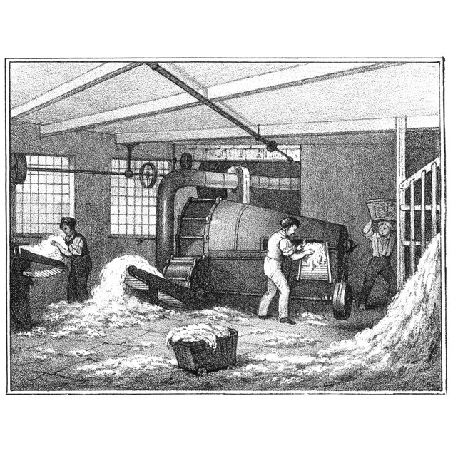 Textile Mill: Cotton. /Nbatting: Interior View Of A Manchester Cotton Manuf