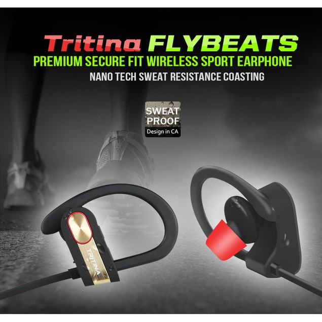 Tritina Sports Bluetooth Earphone+Mic- tereo Sound, Sweat-proof