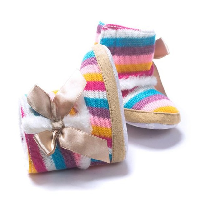 Baby Girl Rainbow Soft Sole Snow Boots Soft Crib Shoes Toddler Boots