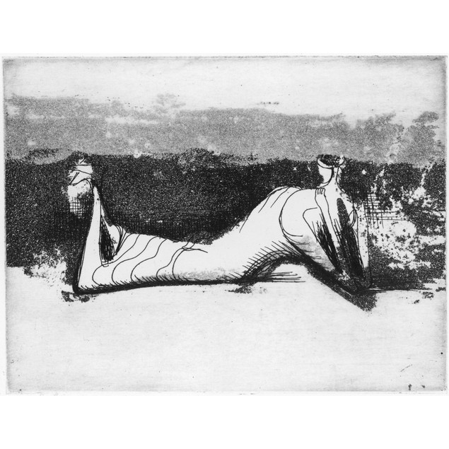 Moore: Reclining Figure. /N'Draped Reclining Figure.' Aquatint And Engravin