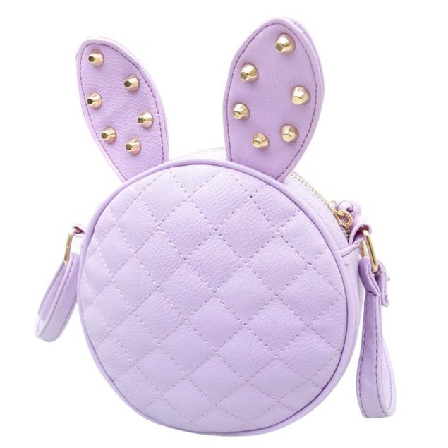 Women Girl Rabbit Ear Round Leather Handbag Shoulder Messenger Bag