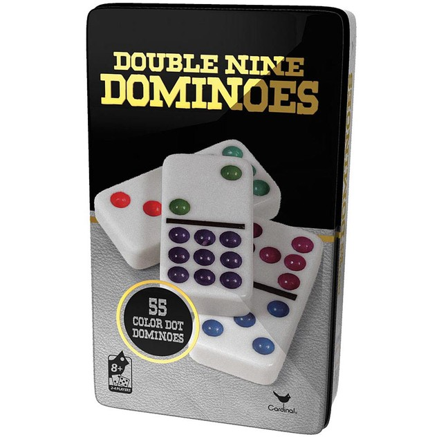 Double 9 Dominoes in Tin, Dominoes by Cardinal