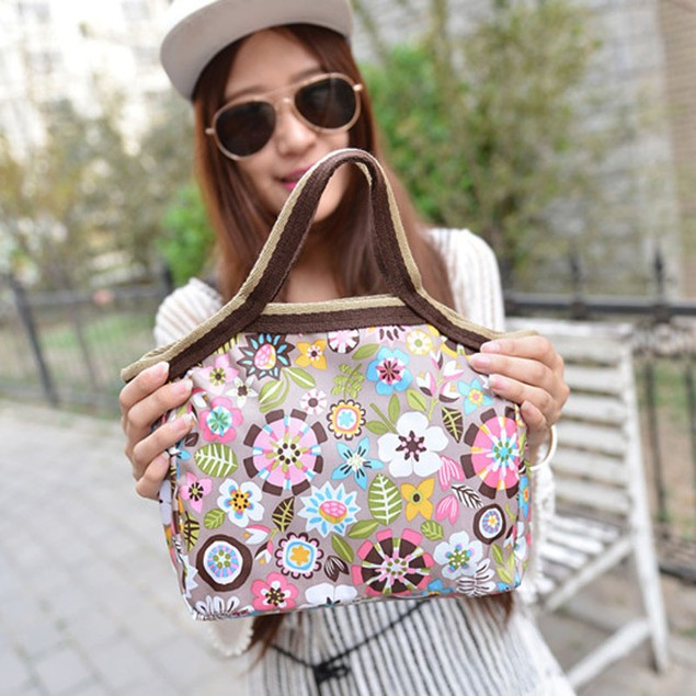 Boho Flower Print Lunch Bag