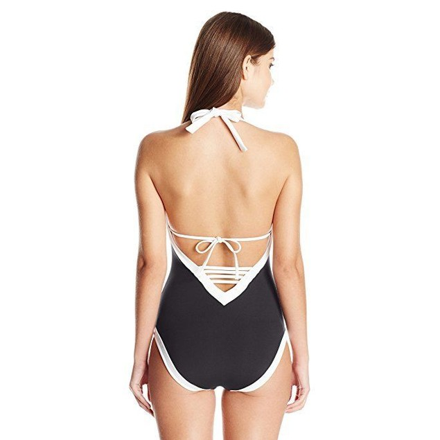 Seafolly Women's Block Party Deep V Maillot One Piece Swimsuit, Black, 4 US