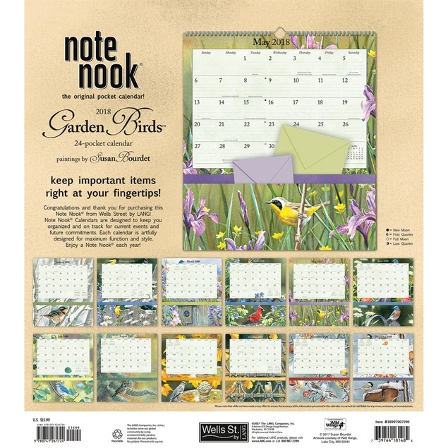 Susan Bourdet Garden Birds Pocket Wall Calendar