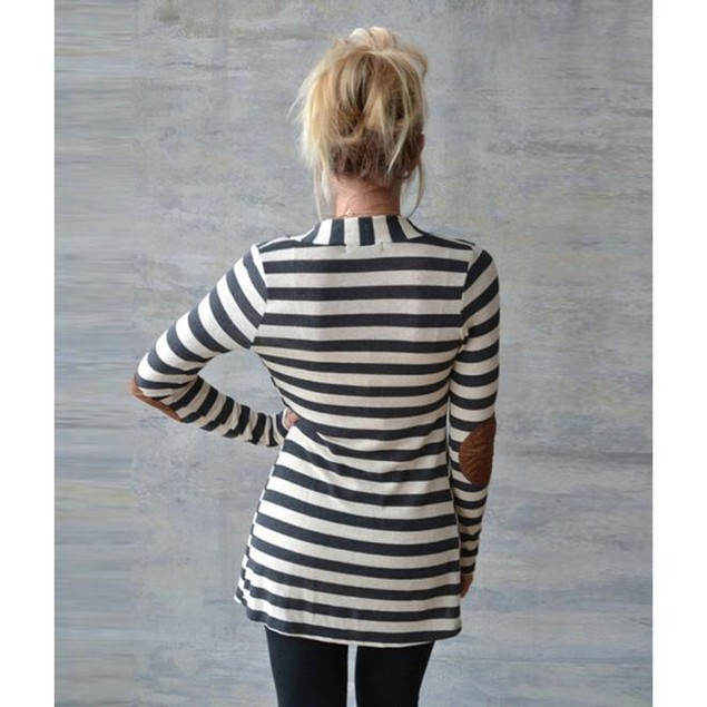 Women's Long Sleeve Striped Cardigan