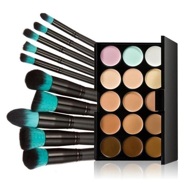 10pcs Makeup Brushes Powder Foundation Eyeshadow Tool +Concealer
