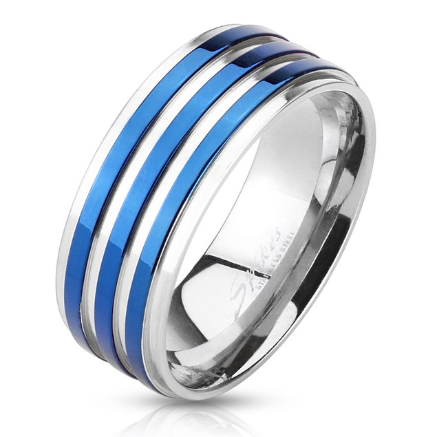 Blue IP Striped Stainless Steel Ring