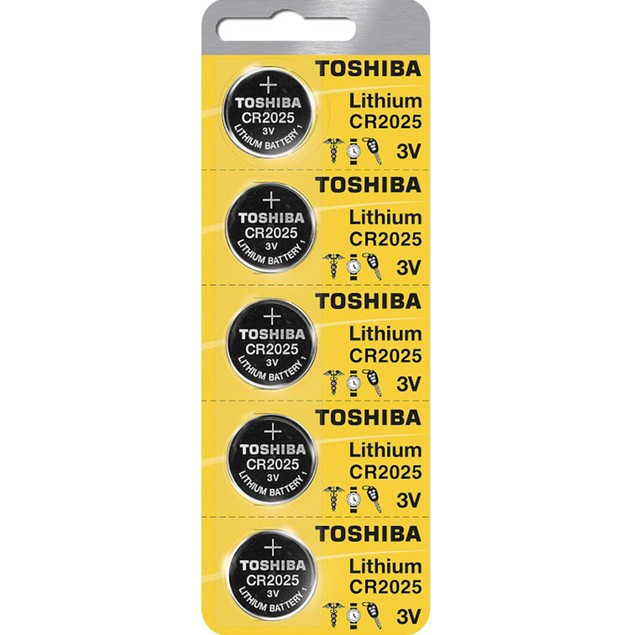 Toshiba CR2025 3-Volt Lithium Coin Cell Batteries (5 Batteries)