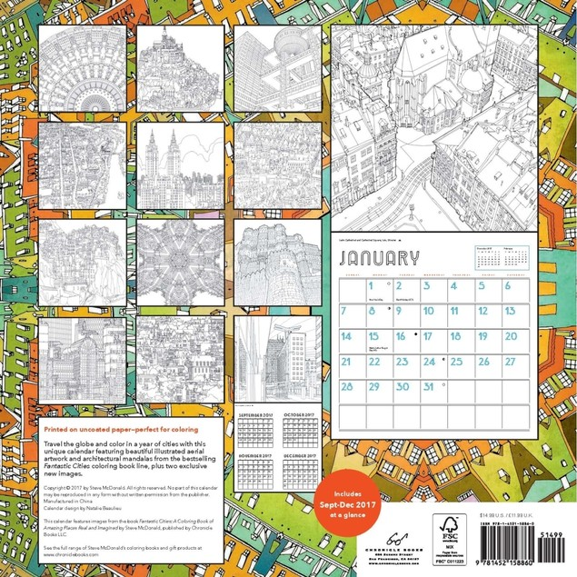 Fantastic Cities Wall Calendar, Globetrotter by Chronicle Books