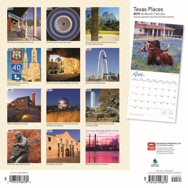 Texas Places Wall Calendar, Texas by Calendars