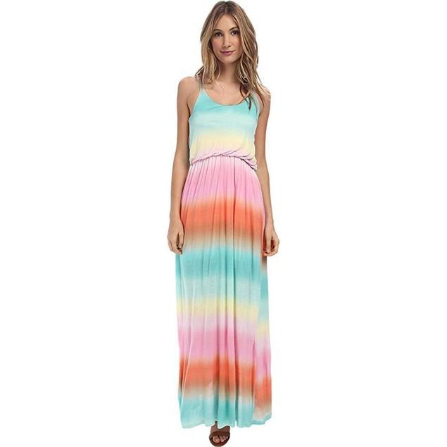 Culture Phit Women's Rachel Tie Dye Maxi Dress Rainbow Dress