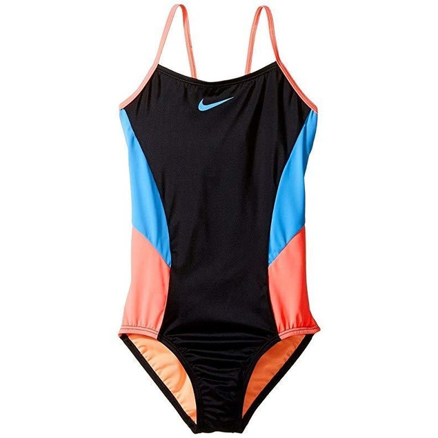Nike Girl's Color Surge V-Back Tank Swimsuit SZ 10 Black