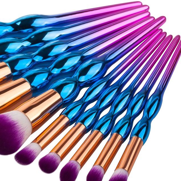 10-Piece Cosmetic Brush Set with Metallic Handles