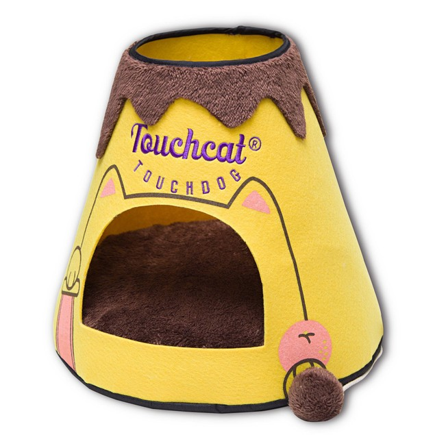 Touchcat Molten Lava Designer Triangular Cat Pet Kitty Bed House With Toy