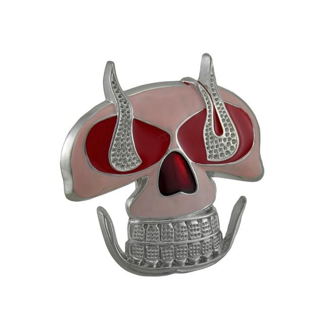 Pink / Red Enamel Flaming Skull Belt Buckle Womens Belt Buckles