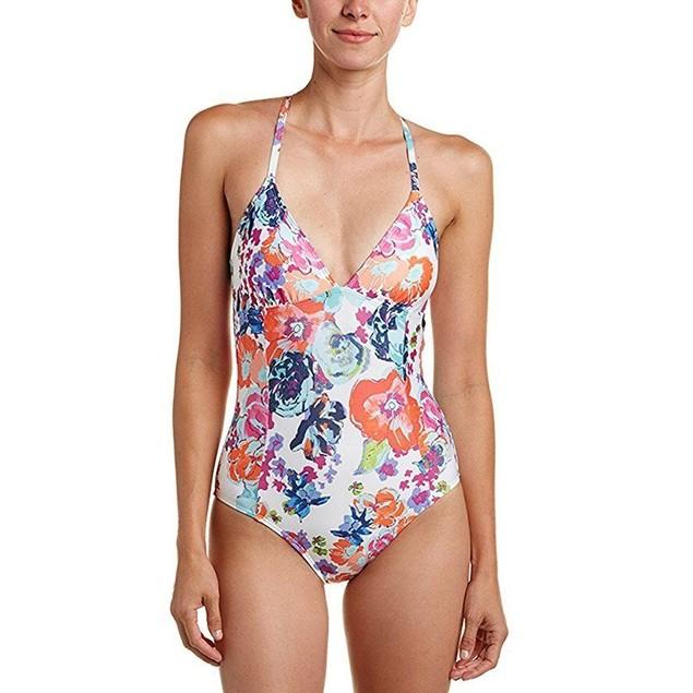 Splendid Women's Removable Soft Cup One-Piece Multi Swimsuit SZ:  L