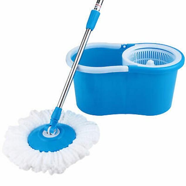 Rotating Head Easy Magic Floor Mop Bucket 2 Head Microfiber