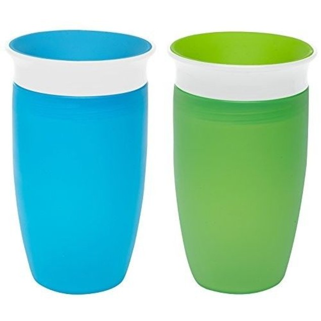 360 Sippy Cup Green/Blue 10 Ounce 2 Count Munchkin No Leak